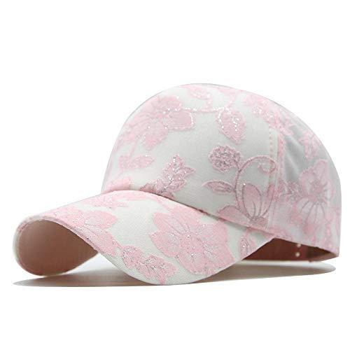 YYLKKB Gorra de béisbol de Malla de Encaje Bordada de Las Mujeres, Gorra de protección Solar, Sombrero Casual Ajustable de Sombrero al Aire Libre-Rosa_Ajustable