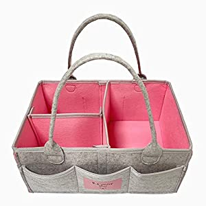 Baby Diaper Caddy Organizer: Large Organizer Tote Bag for Girl and Boy – Portable Car Travel Organizer, Nursery Essentials Storage Bins for Changing Table (Pink, Mustard Yellow)
