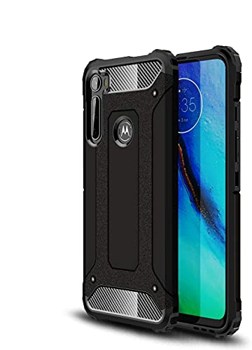 Diman Hülle für MotorolaOneFusion Plus & [2 Stück] Panzerglas, Rugged Armor Hülle Cover Dual Layer PC + TPU Schutzhülle, Schwarz