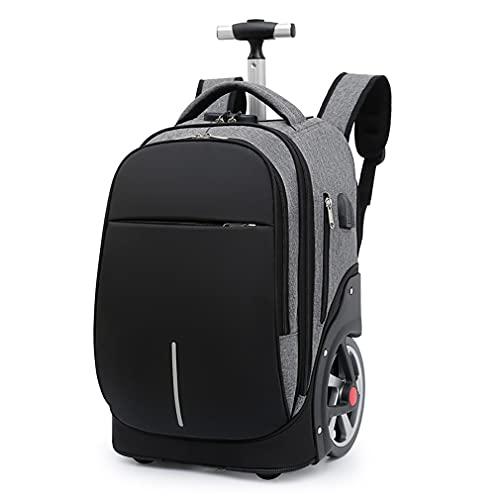 CattleBi Zaino trolley viaggio borsa pc 15,6 pollici, 40 litri, borsa da viaggio con 18cm ruote possono salire le scale, portabiti e porta PC (Grigio, 32 x 25 x 48 cm)