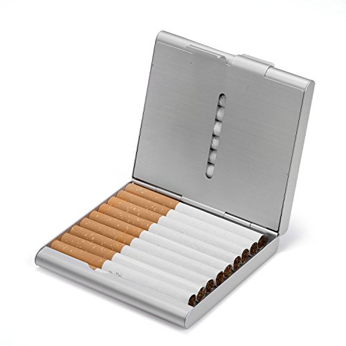 HBF Pitilleras Para Hombre Caja De Cigarillo Metal Pitillera Cigarrillos Hombre Para Introducir 20 Cigarrillo Color Plateado