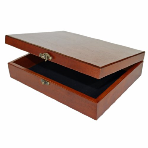 WE Games Old World Wooden Treasure Box with Brass Latch (Light Cherry Finish)