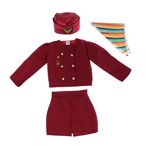 Hellery Accesorios de Disfraz de Azafata para Niñas Uniforme Elegante de Cosplay Niños Set con Gorra Chaqueta Falda y Corbata