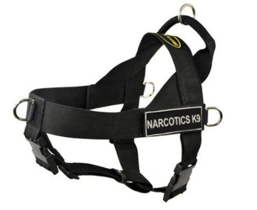 DT Universal-Hundegeschirr, kein Ziehen, Narcotics K9, Schwarz, Größe XS, passend für Gurtgröße: 53,3 cm bis 63,3 cm