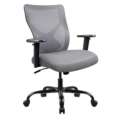 Furmax Big and Tall Office Chair High-Back Mesh Desk Chair Swivel Conference Chair with Adjustable Back and Lumbar Support Ergonomic Computer Chair Home Office Task Chair with Armrest (Grey)
