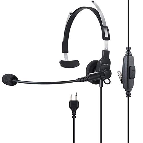 COODIO Funkgeräte Ohrhörer Überkopf-Kopfhörer Leichte Security Headset [Swivel Boom Mikrofon] Überlegen Audio-Lautsprecher Kompatibel mit 2 Pin Midland Funkgerät