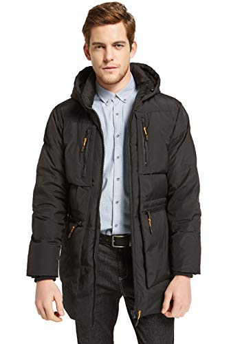 Orolay Men's Thickened Down Jacket Hooded Winter Coats with 6 Pockets Black L