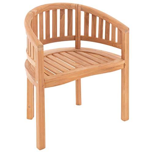 Nexos DIVERO Bananenstuhl Gartensessel geschwungen Teak Holz behandelt bequemer Sitzkomfort massiv modern stilvoll besonderes Design handgemacht