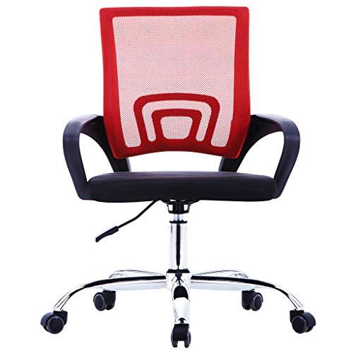 vidaXL Kantoorstoel met Mesh Rugleuning Stof Rood Bureaustoel Werkstoel