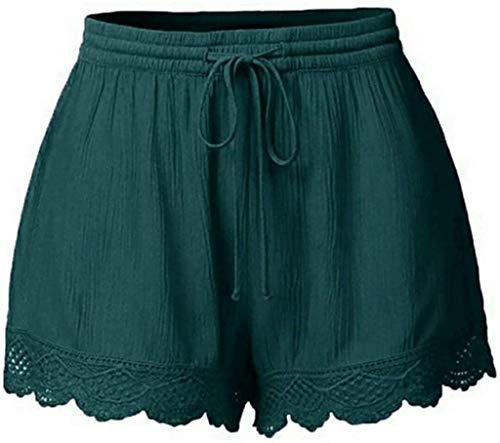 Mujer Monocromo Pantalones Cortos Modernas De Encaje Pierna Casual Pañuelo Ancha De Yoga Pantalón Corto Mujeres Pantalones Casuales Talla Tallas (Color : Green, One Size : M)