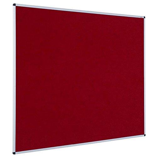 VIZ-PRO Notice Board Felt Burgundy, 48 X 36 Inches, Silver Aluminium Frame