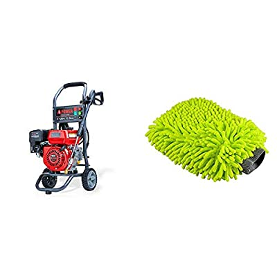 A-iPower APW2700C Gas Powered Pressure Washer 2700 PSI and 2.3 GPM 7HP with 3 Nozzle Attachments, Red & Chemical Guys MIC_493 Chenille Microfiber Premium Scratch-Free Wash Mitt, Lime Green, Regular