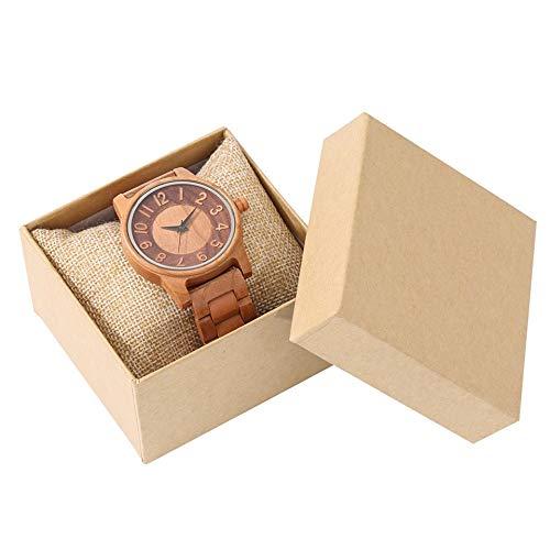 LOOMUCI Reloj de Madera Reloj de Madera Completo para Hombre, Reloj Deportivo Simple para Hombre, Reloj con Banda de Madera, Relojes Masculinos, Pulsera, Reloj de Pulsera de Cuarzo para ho