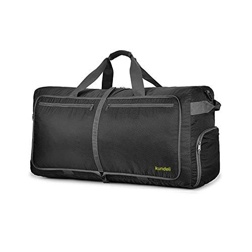 Kundeli 120L Extra Large Travel Duffel Bag, Lightweight Packable Luggage Duffle Bag for Men Women, Waterproof Camping Bags 6 Color Choices (Black)