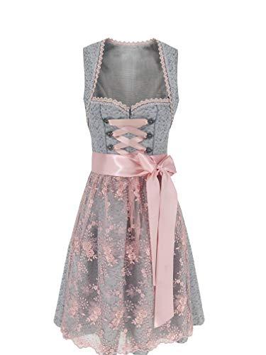 Lukas Dirndl Exklusives Designer Midi Damen Dirndl Kleid inkl. Spitzen Dirndlschürze - 18109 (40)