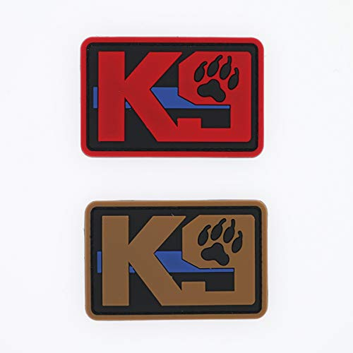 K9 Unit Police Dog Paw Thin Blue Line PVC Rubber Patch - Sew On Hook&Loop Fastener Badge Applique - 2 Pack, 3.1 Inches, Red Khaki - for Backpack Jean Jacket