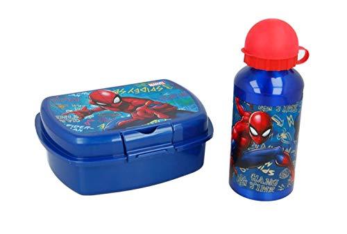 Theonoi 2Piezas niños-Juego de Desayuno-Elegir: Cars-Paw Patrol-Spiderman-Avengers. 1x Fiambrera Sandwich Caja y 1x Aluminio Botella/Botella Aluminio para Joven