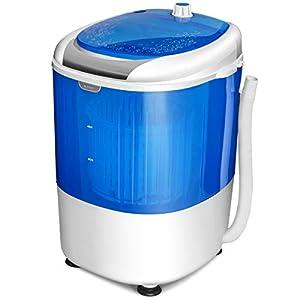 GOPLUS Mini Machine à Laver avec Essorage, Lave-linge Semi-automatique Compact et Portable, 10 Minutes Lavage Rapide, Capacité de Lavage 2,5KG, pour Appartement et Dortoir, 36 x 34 x 51CM, Bleu