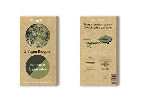 Natur Vac - Hamburguesa Vegana de Espinacas y Guisantes - 100% Natural - 2 ud. 180g