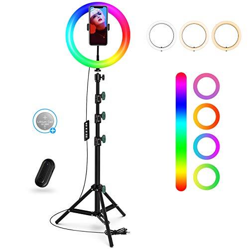 Aro de luz de 10' con Trípode y Soporte para Teléfono, Anillo de luz Regulable con 21 Colores RGB y 3 Temperaturas de Color para Selfie/Maquillaje/YouTube/Tiktok, Compatible con Teléfonos iOS/Android