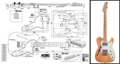 Plan of Fender Telecaster Thinline E-Gitarre, Vollmaßstabsdruck