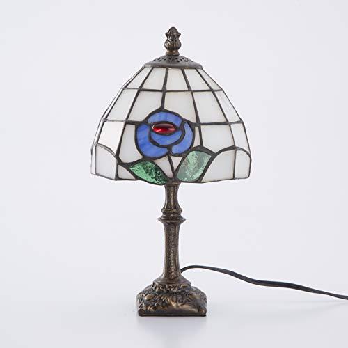 Lieto ステンドグラスランプ テーブルランプ アンティーク 小型 花柄 ブルー ステンドランプ ステンドガラス 卓上照明 間接照明
