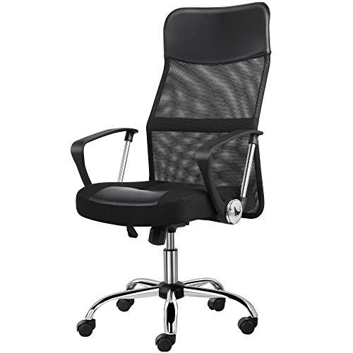 Yaheetech Bürostuhl, Schreibtischstuhl ergonomisch, atmungsaktiver Bürodrehstuhl mit hoher Netz-Rückenlehne, Wippfunktion Office Chair, Belastbar bis 135 kg