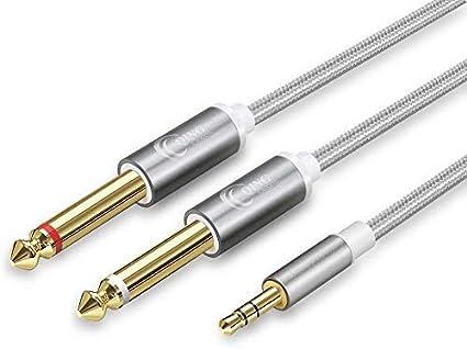 QING CAOQING Cable Audio 3.5mm a Doble 6.35mm 3M, Nylon Trenzado Cable Divisor de estéreo Audio para Mezclador, Guitarra, Amplificador