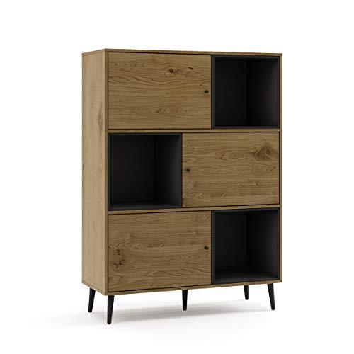 Mc Haus KUMA - Estanteria Madera Natural y Negro, Librería de pared Salón Comedor Dormitorio de diseño Nórdico con 3 estantes para almacenaje y 3 puertas 100x40x135cm