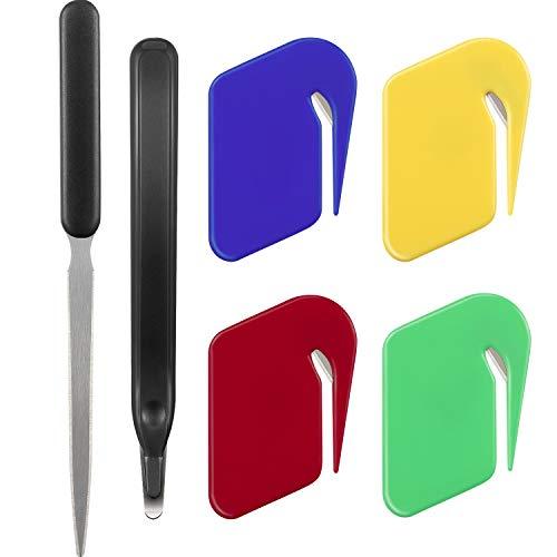 Letter Opener Envelope Slitter ,4 Colors Letter Openers with Razor Blade for Envelope,Stainless Steel Envelope Knife Staple Removal Tool for School Office Home(6pack