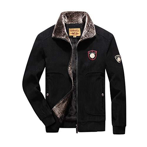 Plot Herren Winterjacke Warm Einfarbig Übergangsjacke Winter Gefüttert Revers Cord Jacke Softshell Jacke Outdoor Parka Mantel Jacke