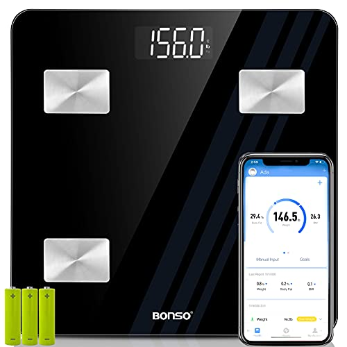 BONSO BMI Smart Scales Digital Weight and Body Fat, Bluetooth Body Composition Analyzer, Bathroom Body Weight Scales Most Accurate, Scales for Body Weight and Fat with Smartphone App (400lbs)