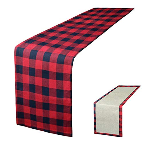 Townshine Table Runner, 72 x 14 Inches Buffalo Plaid Check Chirstmas Table Runners for Xmas Family Dinner, Farmhouse, Thanksgiving, Christmas & Gathering