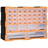Tidyard Mobile Contenitore con 40 Cassetti 52x16x37,5 cm,Mini Cassettiera Porta Attrezzi Manuali in Plastica