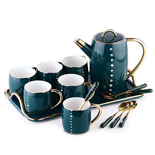 Check Out This Beautiful and Delicate Tea Set For Home Desktop, Ceramic Coffee Cup Set Household Tea...