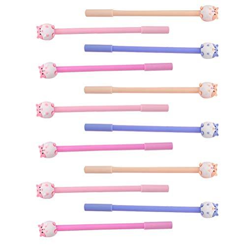 STOBOK 12 bolígrafos de tinta de dibujos animados creativos de gel con cubierta para hámster para casa, oficina, escuela, fiesta, regalo para niños, estilo aleatorio