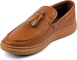 YJ503-TAN Mens Driver Loafers Pebble Sole Shoes Running Shoes for Men (Tan)