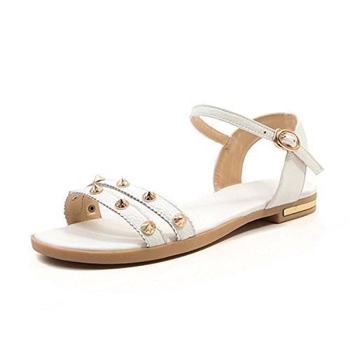 Sweet Plus Size 31-46 Genuine Leather Sandals Women School Rivet Decorating Low Heels Shoes,White,12