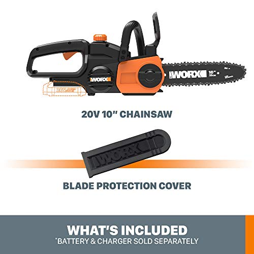 Worx WG322.9 20V Power Share Cordless 10-inch Chainsaw with Auto-Tension, Bare Tool Only