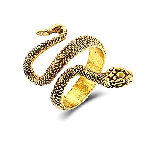 Anillo de serpiente exagerado punk retro estereoscópico, anillo de animal ajustable con apertura de serpiente con personalidad de moda para hombres y mujeres (Oro)