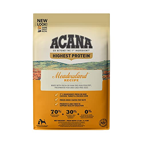 Acana Grain Free Dry Dog Food, High Protein, Freeze-Dried Coated, Chicken,...