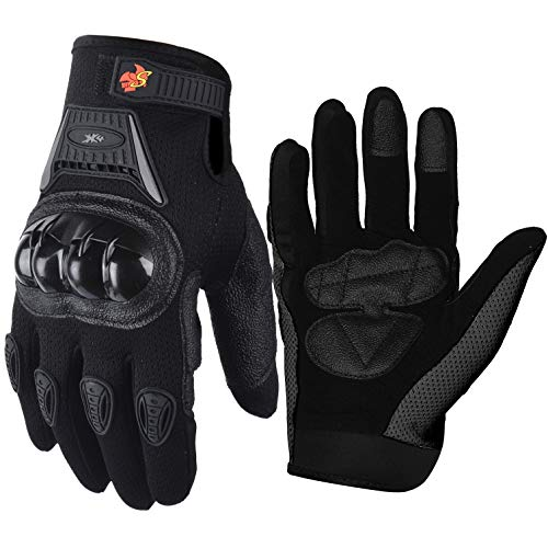 Street Bike Full Finger Motorcycle Gloves 09 (Large, black)