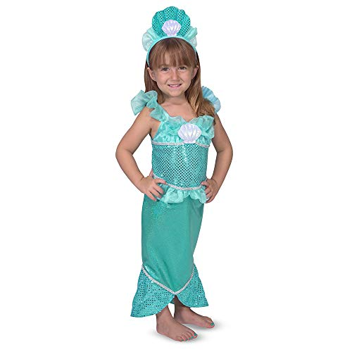 Melissa & Doug Mermaid Role Play Costume Set - Gown With Flared Tail, Seashell Tiara