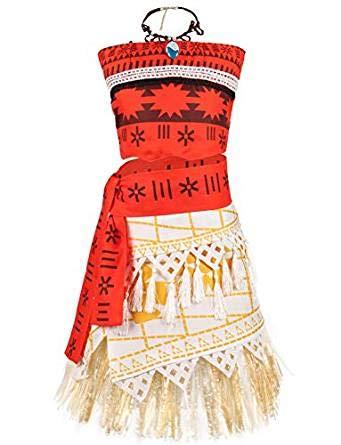 YOSICIL Moana Disfraz Bebe niña de Vaiana Adventure Costume Princesa Disfraces de Halloween Carnaval Cosplay Edad 3-8 Trajes de Dos Piezas Top+Falda+Collar Vaiana Vestido sin Manga Bandeau