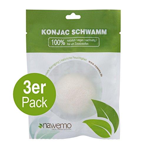 Konjac esponja PUR, para todos los tipos de piel - 3er Vorteilspack