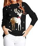 v28 Ugly Christmas Sweater, Women Girls Cute Shining Reindeer Pullover Sweater (S, Black (Light-Gold Deer))