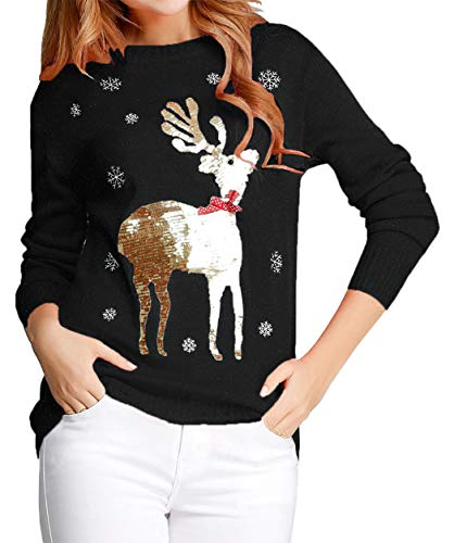 v28 Ugly Christmas Sweater for Women Reindeer Funny Merry Xmas Knit Sweaters (2X-Large, Black (Light-Gold Deer))