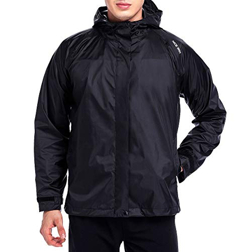 NICEWIN Front-Zip Portable Lightweight Breathable Rain Jacket Hooded Raincoat for Unisex Black-M