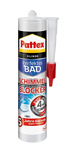 Pattex Perfektes Bad Schimmel Blocker Silikon, Sanitärsilikon mit 4-fach-Schutz gegen Schimmel, Dichtmasse für 5 Jahre garantiert saubere Silikonfugen, 1 x 300ml