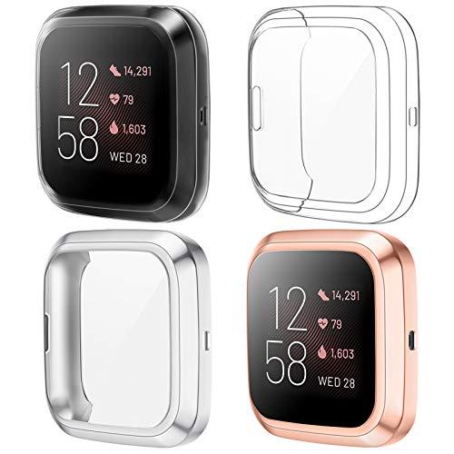 KIMILAR Funda Compatible con Fitbit Versa 2 Protector Pantalla (NO para Versa/Versa Lite/SE), [4 Pack] Suave TPU Cobertura Total Cubierta Protector de Pantalla (Claro/Claro/Plata/Oro Rosa)